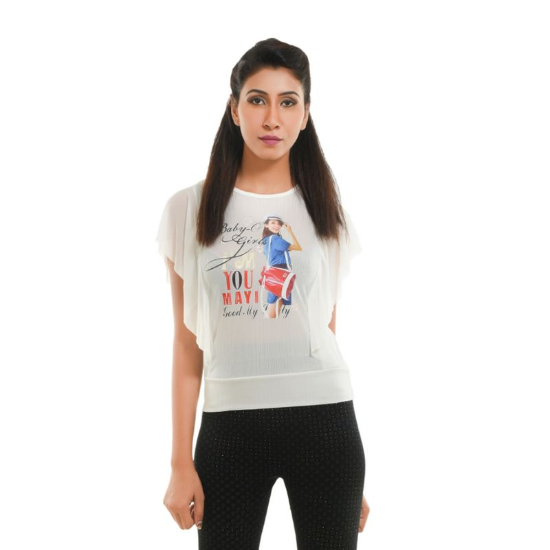 Buy Ziva Fashion Women's White Graphic Print Top online