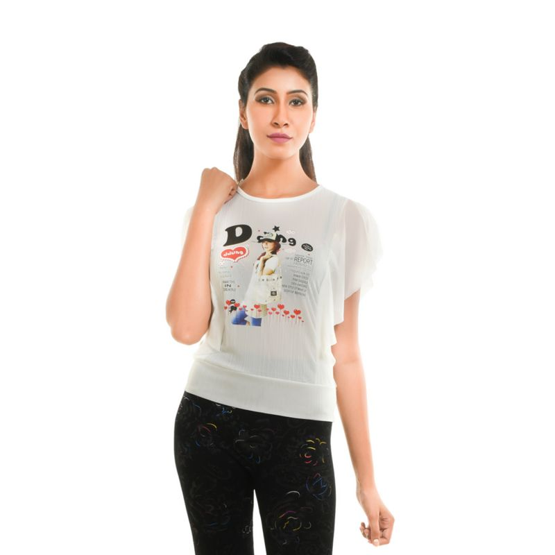 Buy Ziva Fashion Women's White Graphic Print Top - T73 online