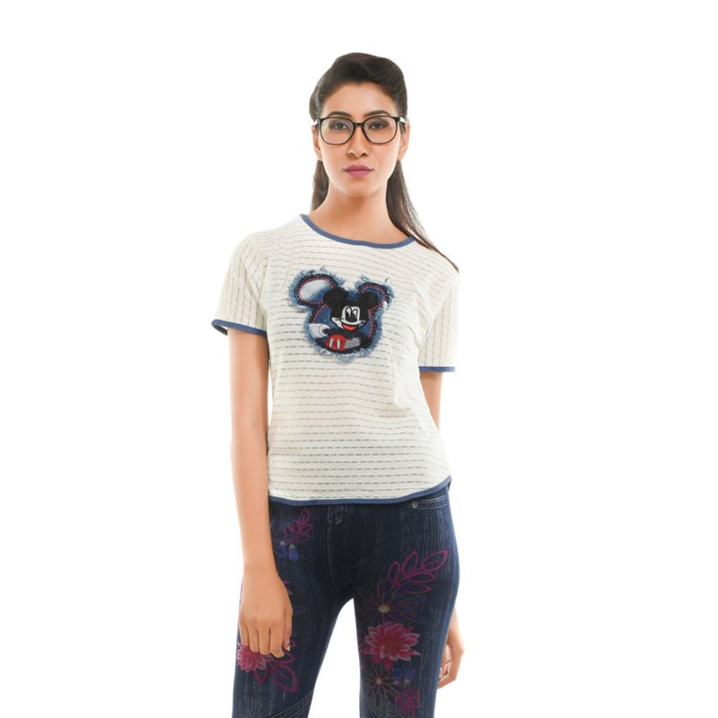 Buy Ziva Fashion Women's White T-shirt With Patchwork - T77 online