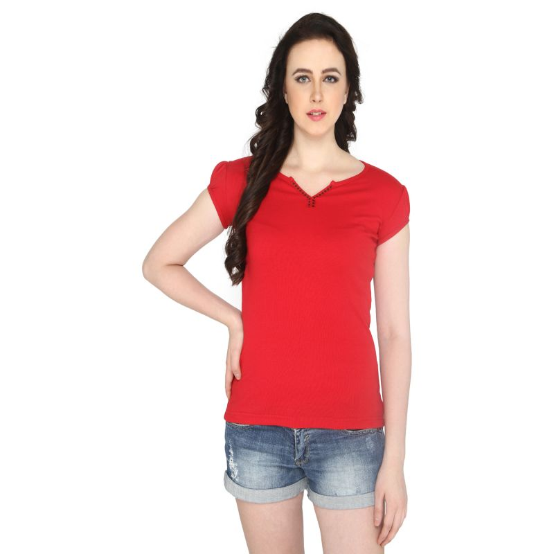 Buy P-nut Women's V Neck Solid Casual T-shirt Om1021a online
