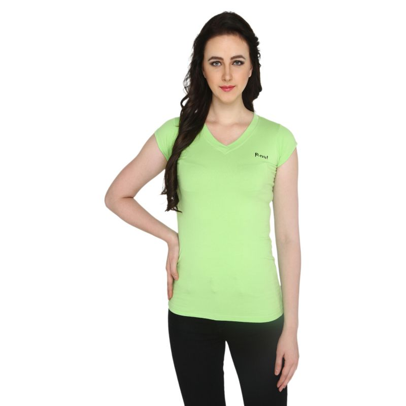 Buy P-nut Women's V Neck Solid Casual T-shirt Om1031a online