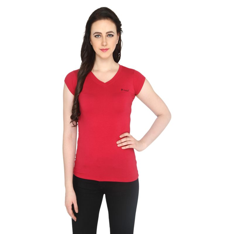 Buy P-nut Women's V Neck Solid Casual T-shirt Om1031c online