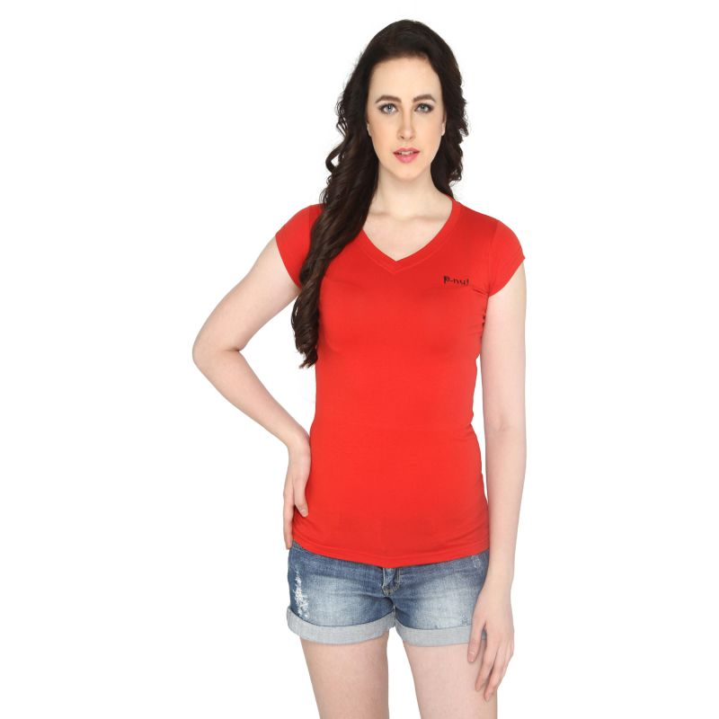 Buy P-nut Women's V Neck Solid Casual T-shirt Om1031f online
