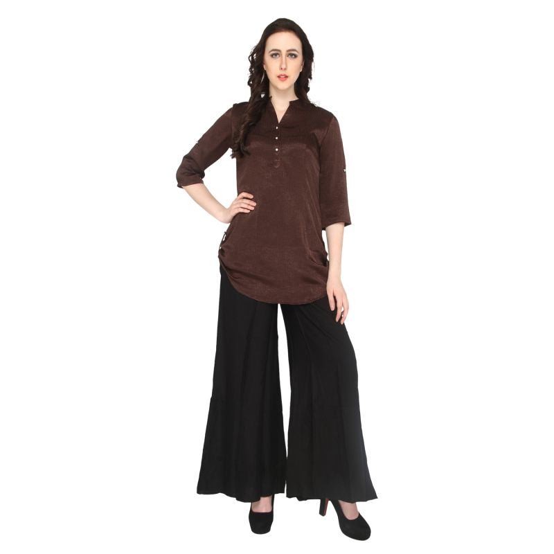 Buy P-nut Women's Satin Solid Casual Top Om314a online
