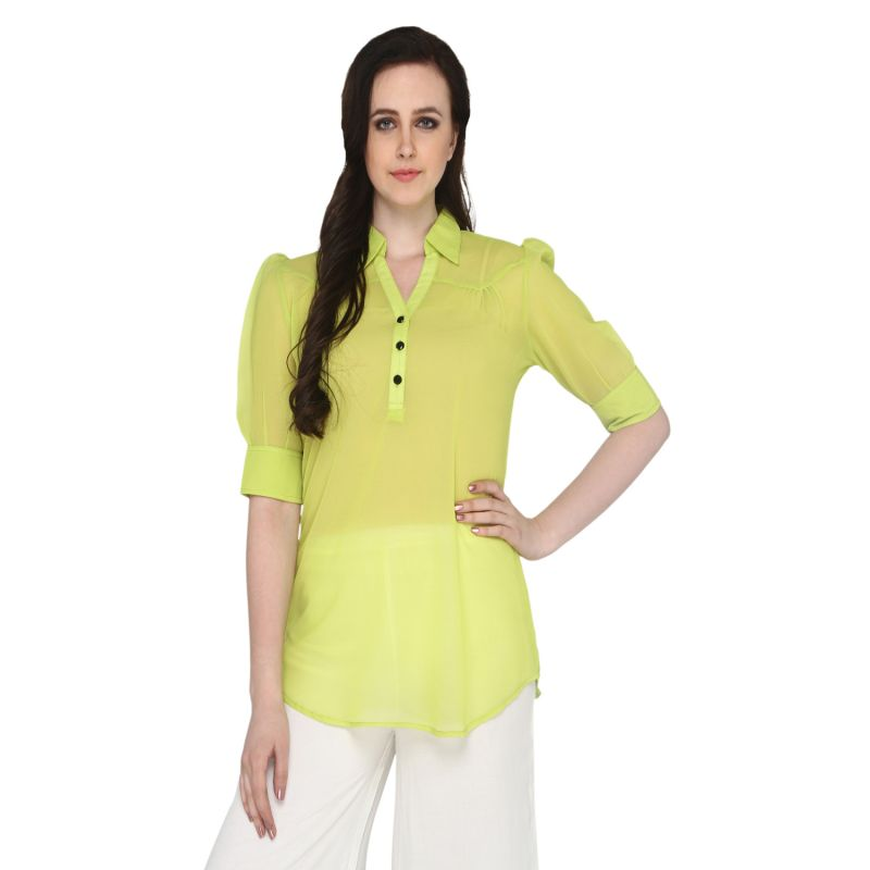 Buy P-nut Women's Georgette Solid Casual Top Om315a online