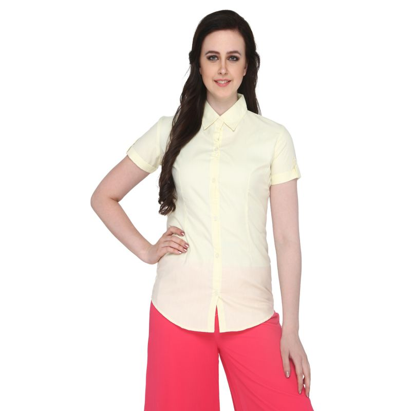 Buy P-nut Women's Solid Yellow Cotton Shirt Om375c online