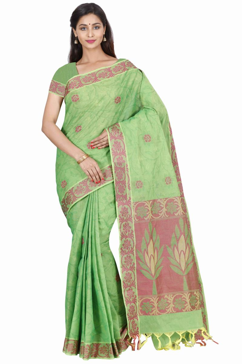 Buy Marjoram Colors Green Color Pure Cotton Saree (mads5015) online