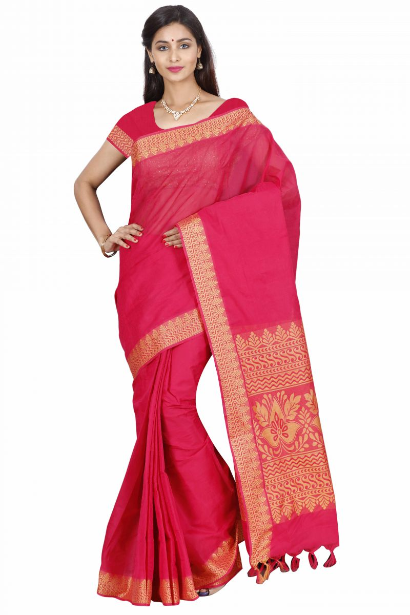 Buy Marjoram Colors Red Color Pure Cotton Saree (mads5024) online