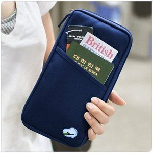 Buy Credit Card ID Holder Zipper Wallet-multi Purpose Travel Wallet- Navy Blue online