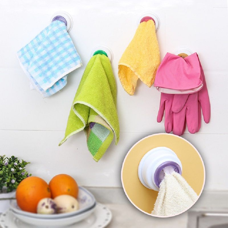 Buy 2 PCs Rubber Suction Pad Cloth Tea Towel Holder Rubber Push In Self-adhesive Back online