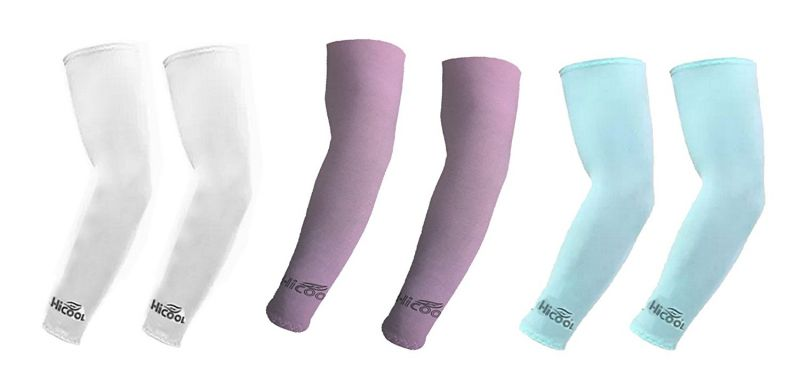 Buy Hi Cool Arm Sleeves For Uv Sun Protection And Sports(white, Purple, Green) - 3 Pairs online