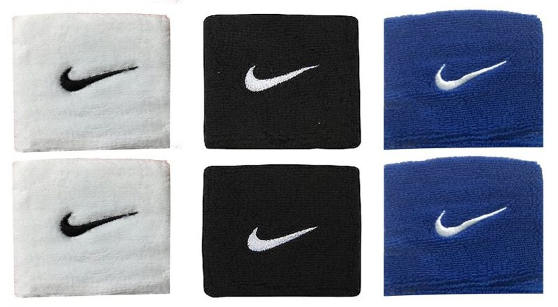 Buy Sports Wrist Band Supporter Sweat Band (black, White And Blue) - 1 Pair Each online