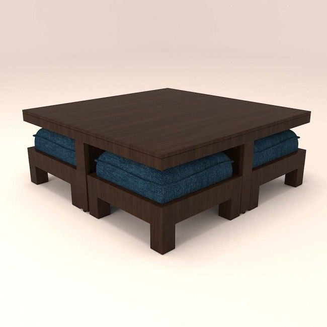 Delicieux Caspian Stylish Large Blue Cushioned 4 Stool Centre Table