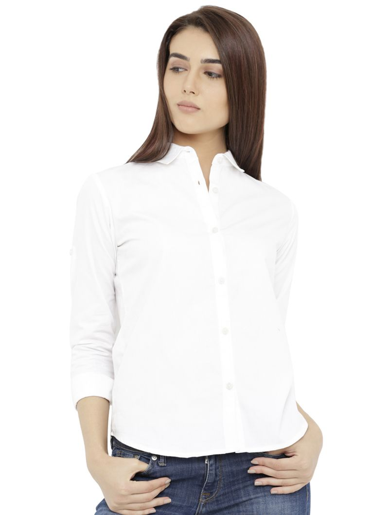 Buy Loco En Cabeza Solid White Cotton Womens 3/4 Sleeve Shirt (code - Czwt0123) online
