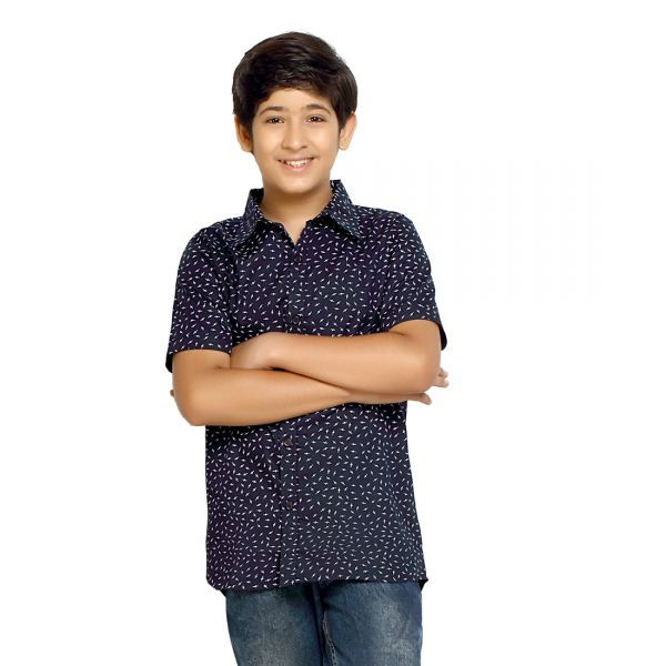 Buy Kick Start Boy's Cotton Leaf Print Short Sleeve Regular Fit Shirt Kss0004 online