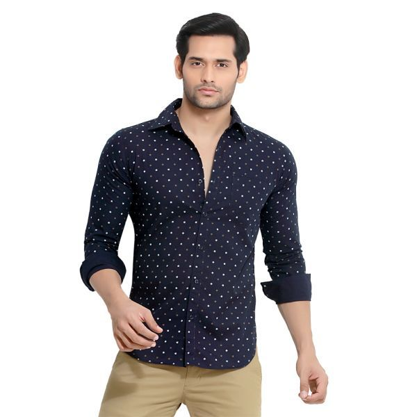Buy London Bee Men's Wheel Print Regular Fit Shirt- (product Code - Mlslb0019) online