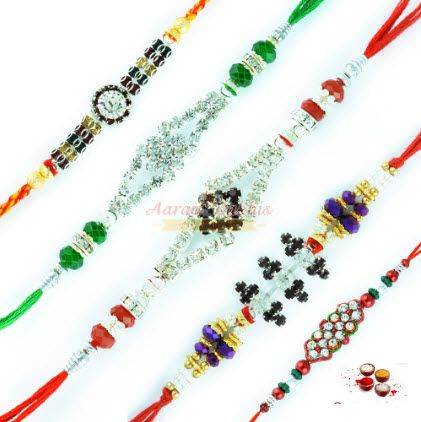 Buy 5 German Silver Rakhi Set online