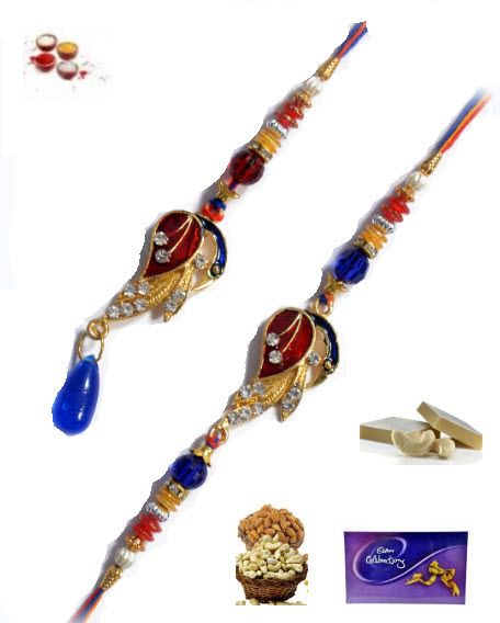Buy Rakhi Online-one Rakhi For Bhaiya And One Lumba For Bhabhi Rakhi Set Only online