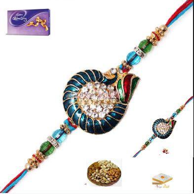 Buy Rakhi Online - Peacock Style Bhaiya Bhabhi Rakhi Set online
