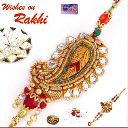 Buy Rakhi Gift - Zardosi Bhaiya Bhabhi Rakhi Set online
