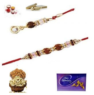 Buy Rakhi Gifts - Beautiful Rudraksha Bhaiya Bhabhi Rakhi Set online