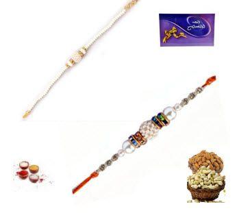 Buy Rakhi Online - Set Of Two Pearl Rakhi online