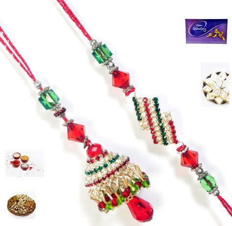 Buy Rakhi Online -beautiful Silver And Red Stone Bhaiya Bhabhi Rakhi Set online
