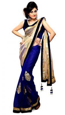 Buy Bikaw Women'S Beautiful Cream And Blue Saree With Unstitched Blouse online
