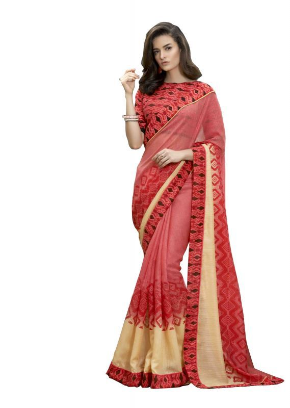 Buy Bikaw Printed Pink Bhagalpuri Silk Fashion Party Wear Women's Saree.(code-saptarangi_red) online
