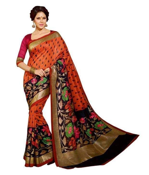 Buy 7n7 Bhagalpuri Saree Silk Printed (multi Color) 26 online