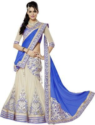 Buy Bikaw Embroidered With Embellished Beige And Black Net Traditional Lengha online