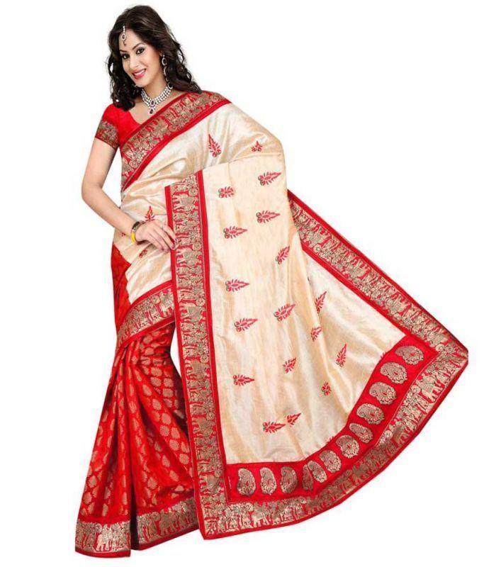 Buy Bikaw Designer Red Bhagalpuri Silk Saree - Bhagal_red_10 online