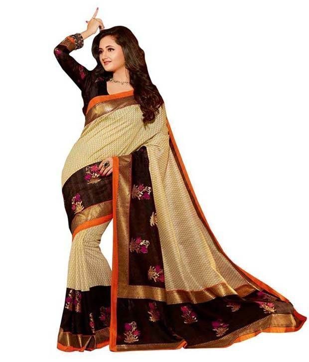 Buy Smt Beige Bhagalpuri Cotton Art Silk Saree online