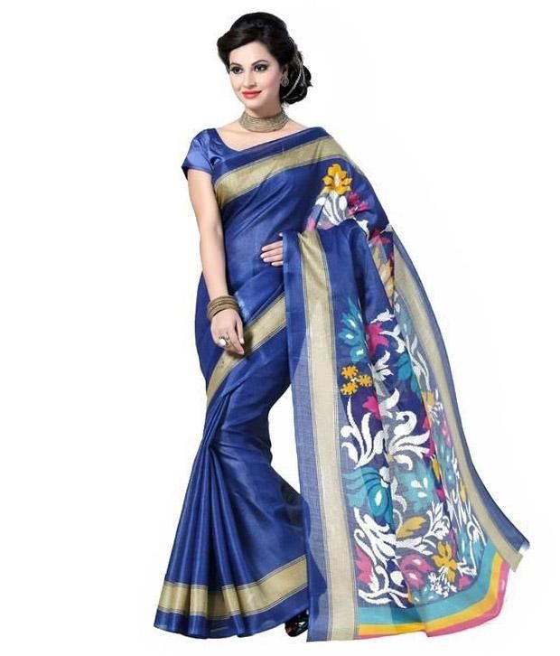 Buy Bikaw Printed Multi-colored Bhagalpuri Silk Traditional Party Wear Women's Saree.(code-pari18) online