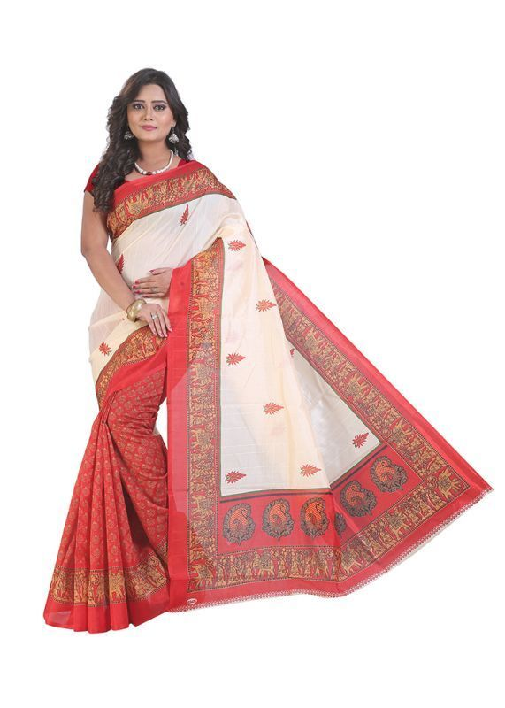 Buy Bikaw Printed Multicoloured Bhagalpuri Silk Fashion Festival Wear Womens Saree (product Code - Sf3195) online