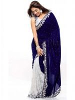 Buy Blue White Velvet Saree With Blouse Piece online