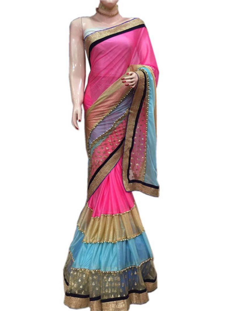 Buy Shree Mira Impex Pink Lycra Saree Sari With Blouse Piece (mira-19) online