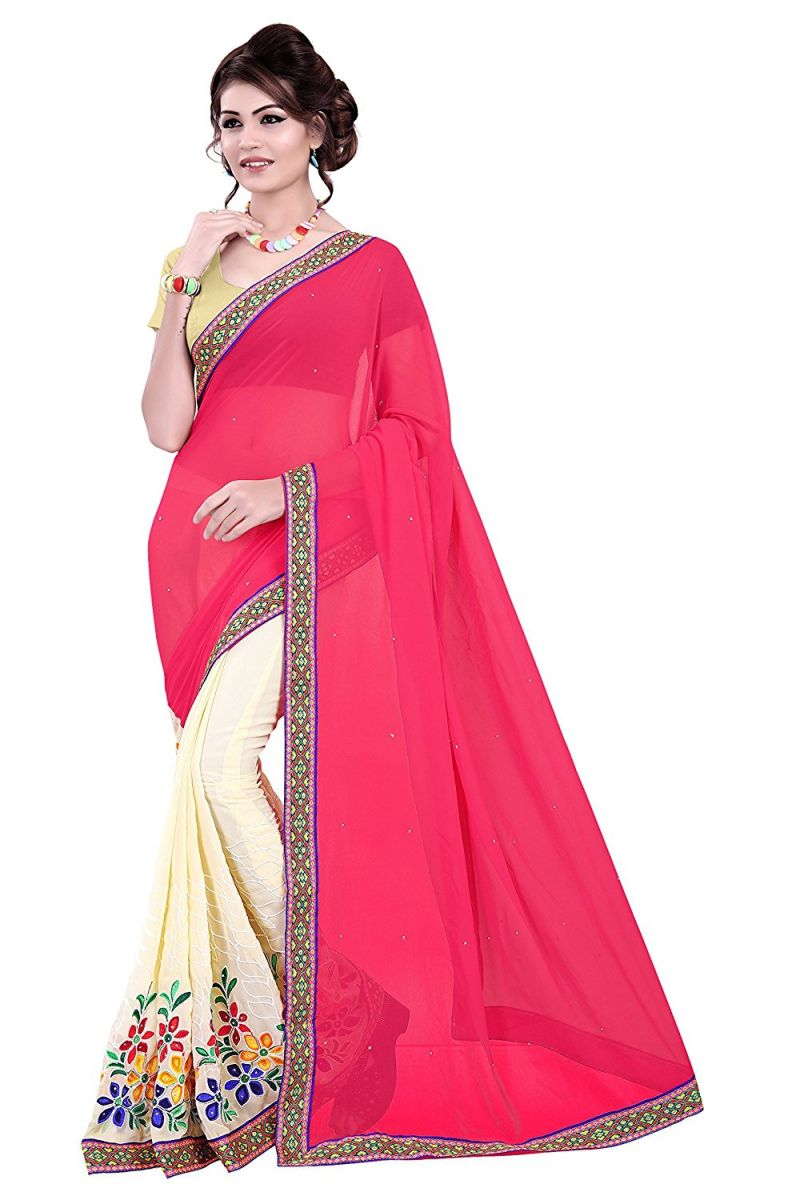 Buy Shree Mira Impex Pink Embroidered Georgette Saree Sari (mira-09) online