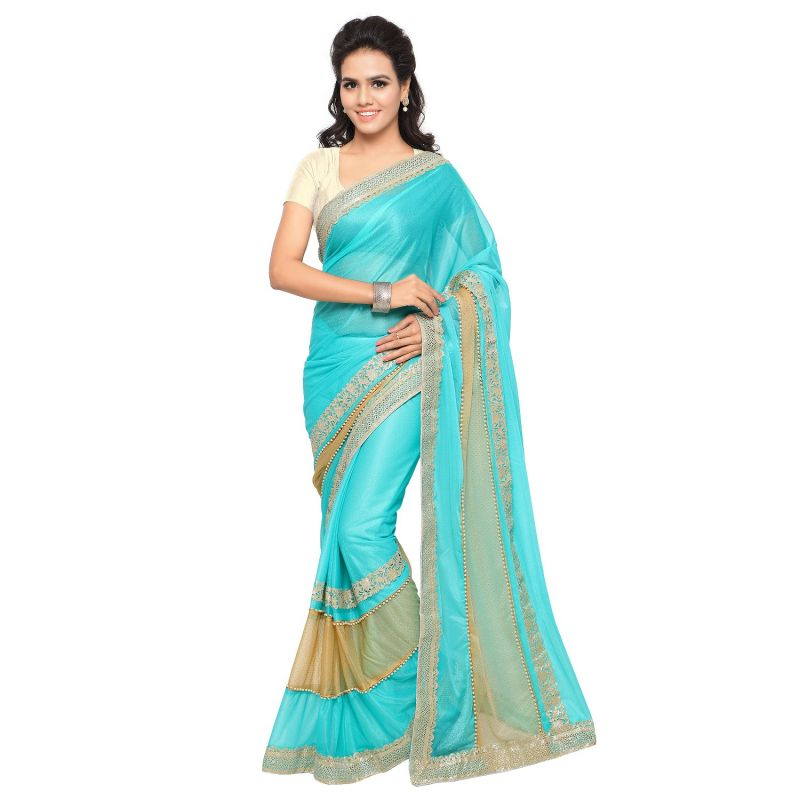Buy Shree Mira Impex Sky Blue Lycra Saree Sari With Blouse Piece (mira-26) online