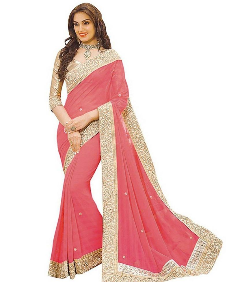 Buy Shree Mira Impex Peach Embroidered Lycra Saree Sari With Blouse Piece (mira-35) online