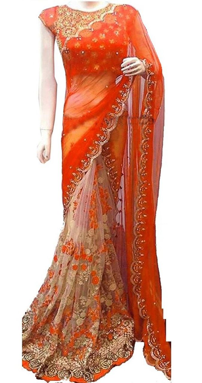 Buy Shree Mira Impex Orange Embroidered Georgette Saree Sari With Blouse Piece (mira-48) online