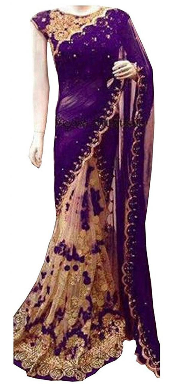 Buy Shree Mira Impex Purple Embroidered Georgette Saree Sari With Blouse Piece (mira-50) online