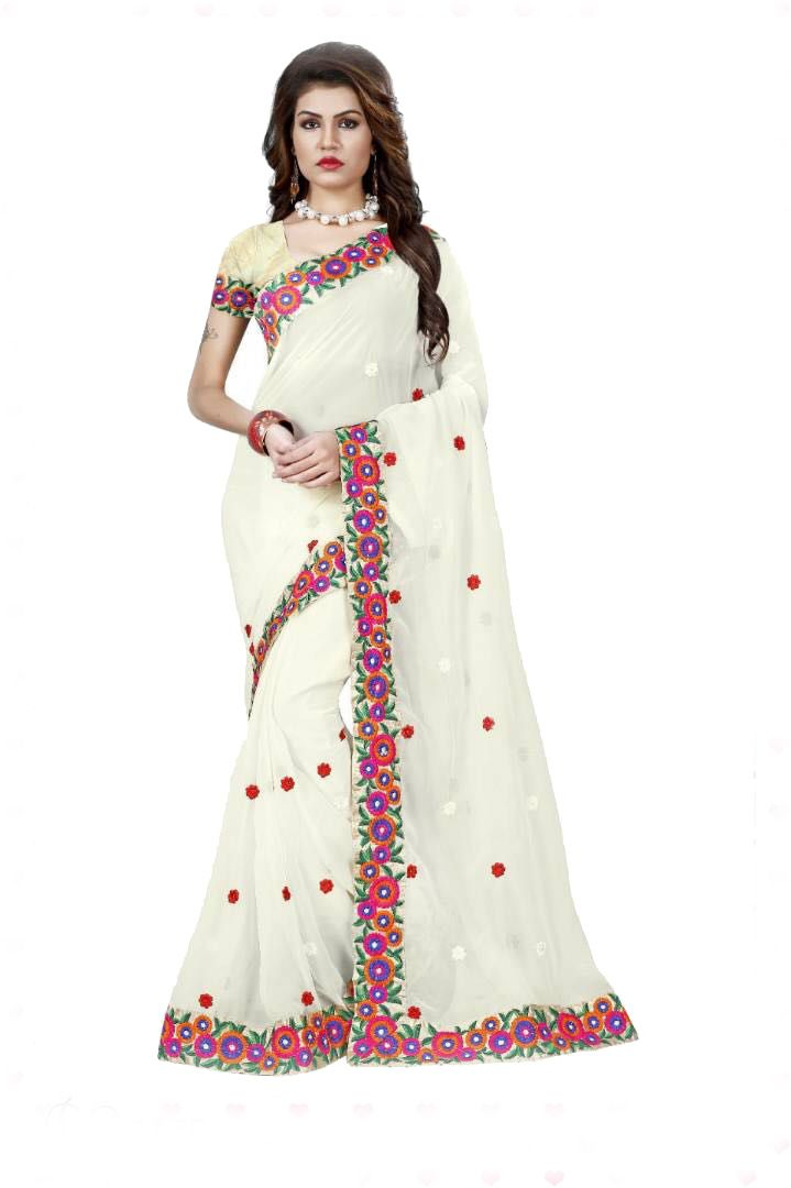 Buy Shree Mira Impex White Embroidered Georgette Saree Sari With Blouse Piece (mira-63) online