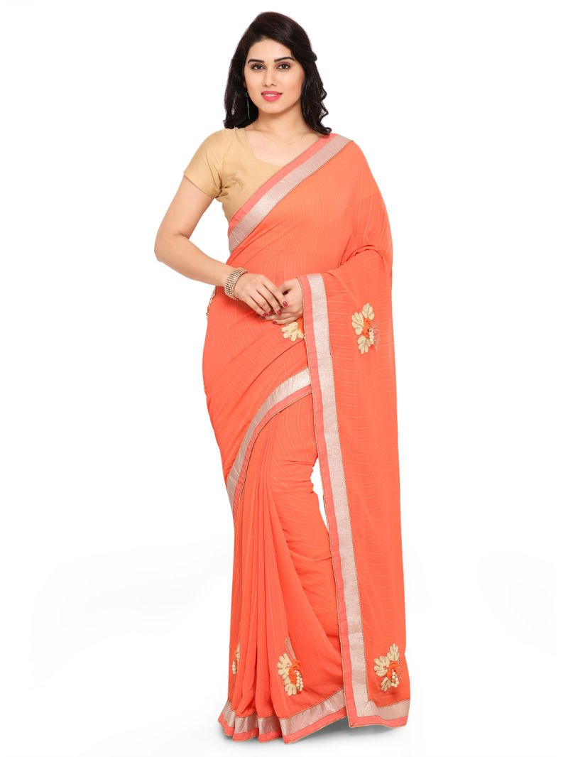 Buy Shree Mira Impex Orange Georgette Saree Sari With Blouse Piece (mira-67) online