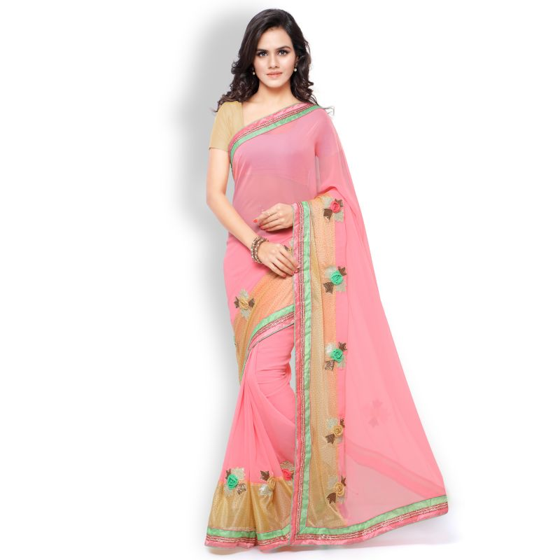 Buy Shree Mira Impex Pink Georgette Saree With Blouse Piece (mira-01) online