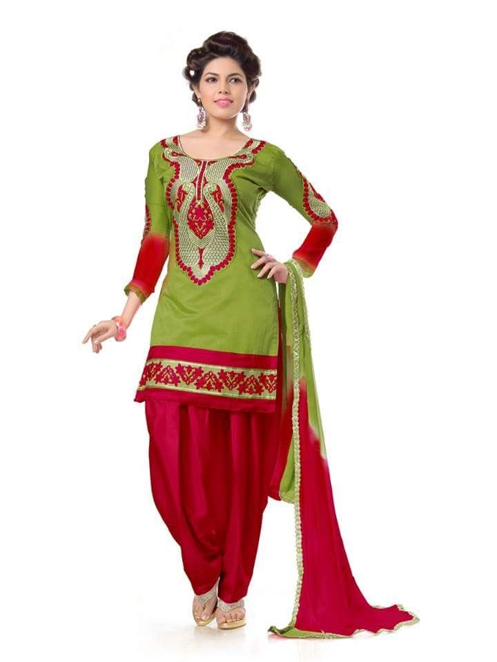 Buy Shree Mira Impex Green Embroidered Cotton Salwar Suits Dress Material (smix-106) online