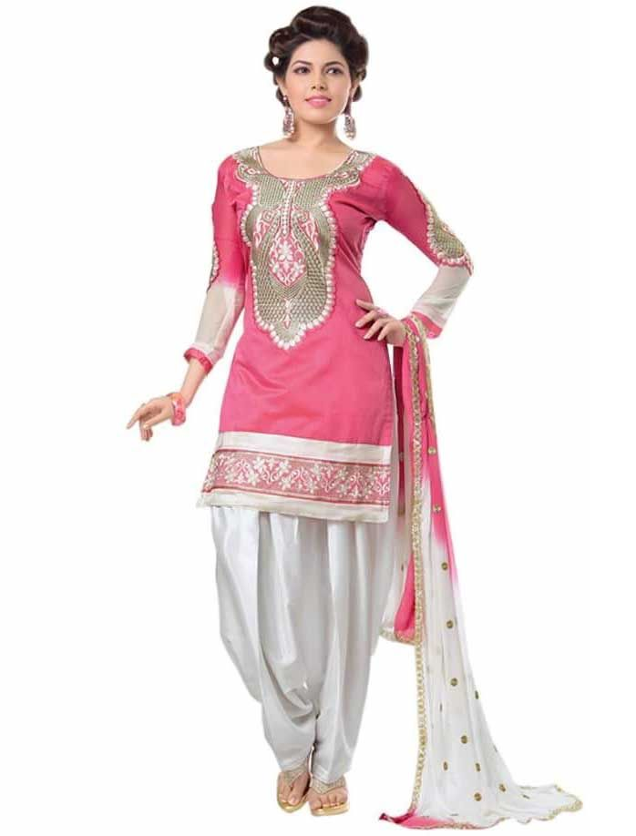 Buy Shree Mira Impex Pink Embroidered Cotton Salwar Suits Dress Material (smix-107) online