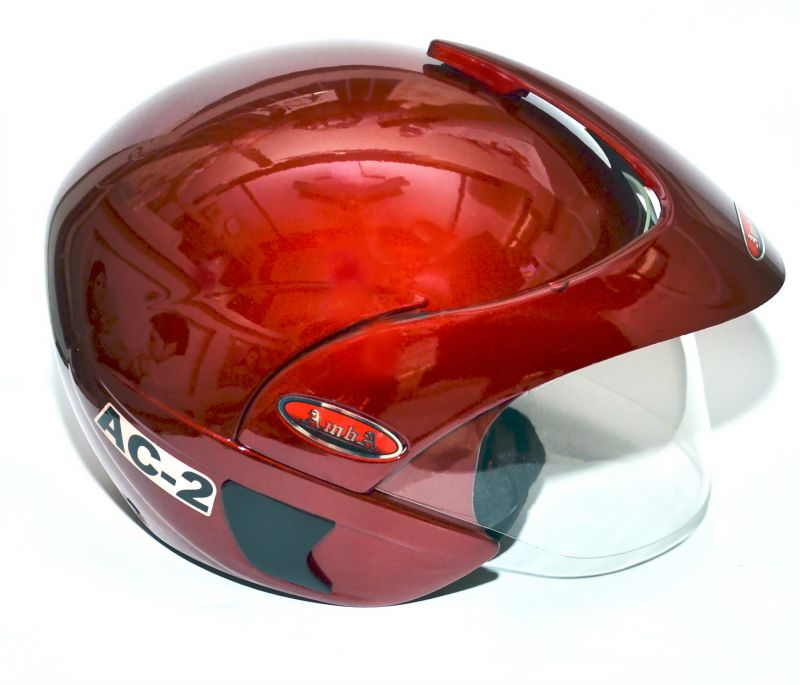 Buy Amba Very Stylish Ac 2 Red Open Face Bike Helmet(isi Approved) online
