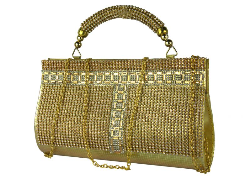 Buy Spero Women's Stylish Zip Lock Party Gold Handbag online