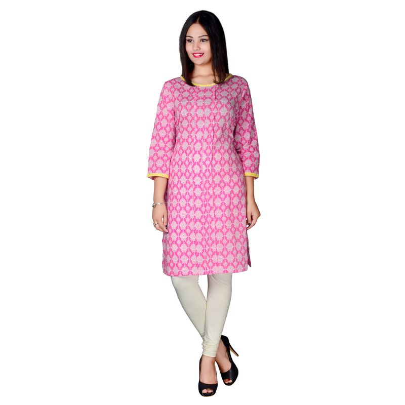 Buy Pink Bling Beige Embroidered Slub & Printed Kurti online